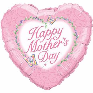 "Happy Mothers Day Pink Butterfly Heart - 18"" Foil Heart Balloon"