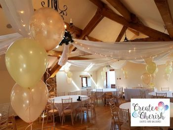 Christening Balloons Peach and Ivory Beeston Manor