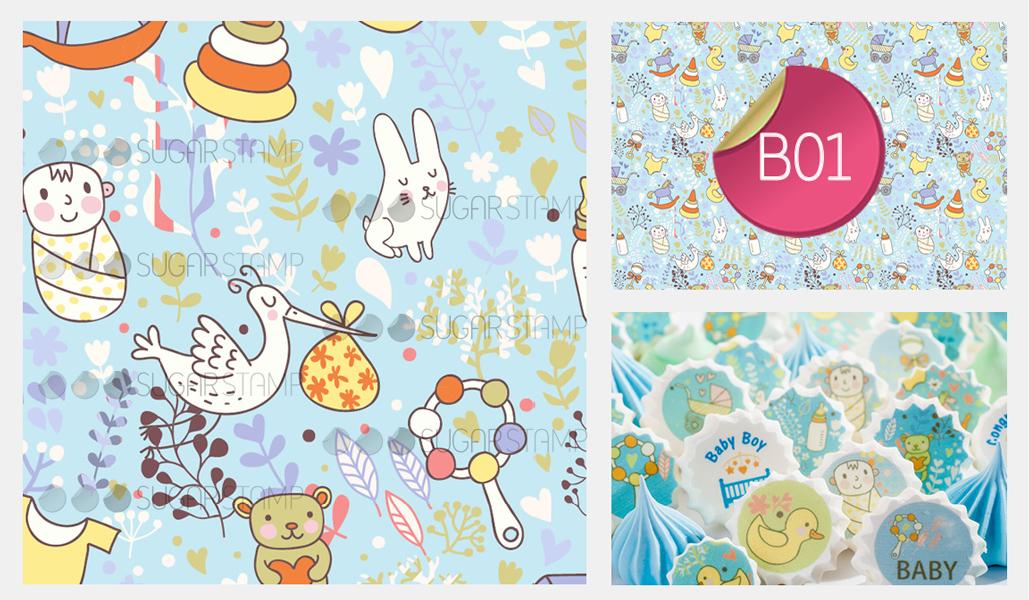 Sugar Stamp Sheet - Baby Blue