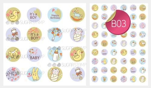 Sugar Stamp Sheet - Baby It's a Boy