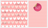 Sugar Stamp Sheet - Pattern Hearts Pink & White