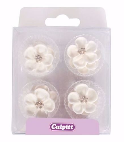 Wild Rose - White & Silver 25mm (12/pack)