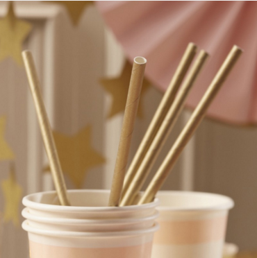 Paper Straws - Pastel Gold