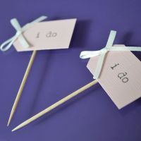 Vintage Party Picks - I do - Blush Pink Card with Ivory Bows