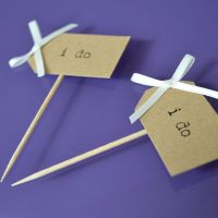 Vintage Party Picks - I do - Kraft Card with Ivory Bows