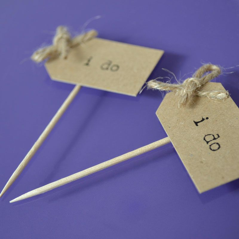 Vintage Party Picks - I do - Kraft with Rustic Twine Bows