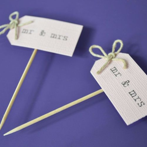 Vintage Party Picks - mr and mrs - Blush Pink Card with Thin Twine Bows