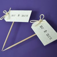 Vintage Party Picks - mr and mrs - Ivory with Thin Twine Bows