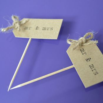 Vintage Party Picks - mr and mrs - Kraft with Rustic Twine Bows