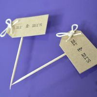 Vintage Party Picks - mr and mrs - Kraft with Thin Twine Bows