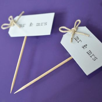 Vintage Party Picks - mr and mrs - Pastel Blue with Thin Twine Bows