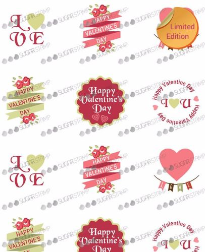 Sugar Stamp Sheet - Valentine's Day H08