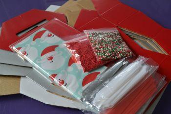Cupcake Bouquet Box - Christmas SANTA Collection x 4 boxes & Bows