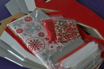 Cupcake Bouquet Box - Christmas SNOWFLAKE Collection x 4 boxes & Bows