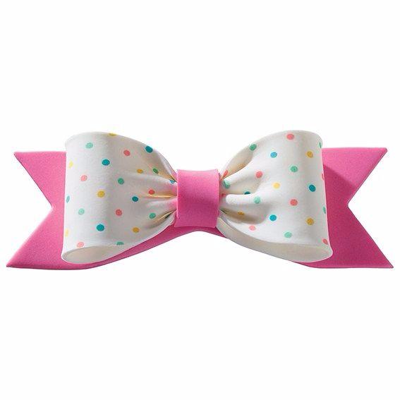 Gumpaste Bow Pastel Dots Pink