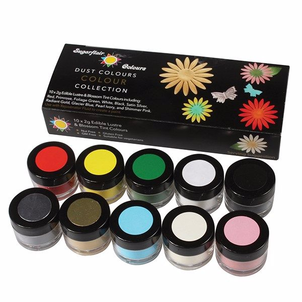 Sugarflair Dust Colour Collection - 10 x 2g Lustres and Blossom Tints