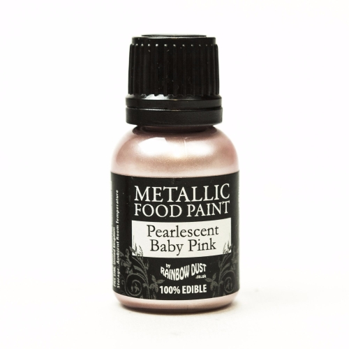 Metallic Food Paint - Pearlescent Baby Pink 25ml