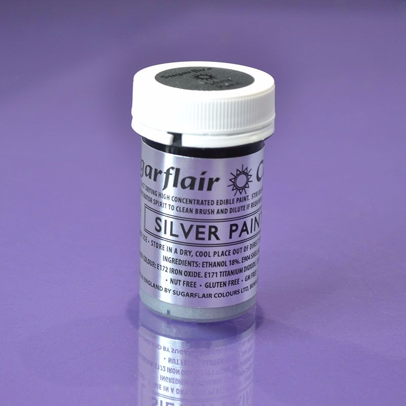 Edible Paint by Sugarflair 20g - Silver
