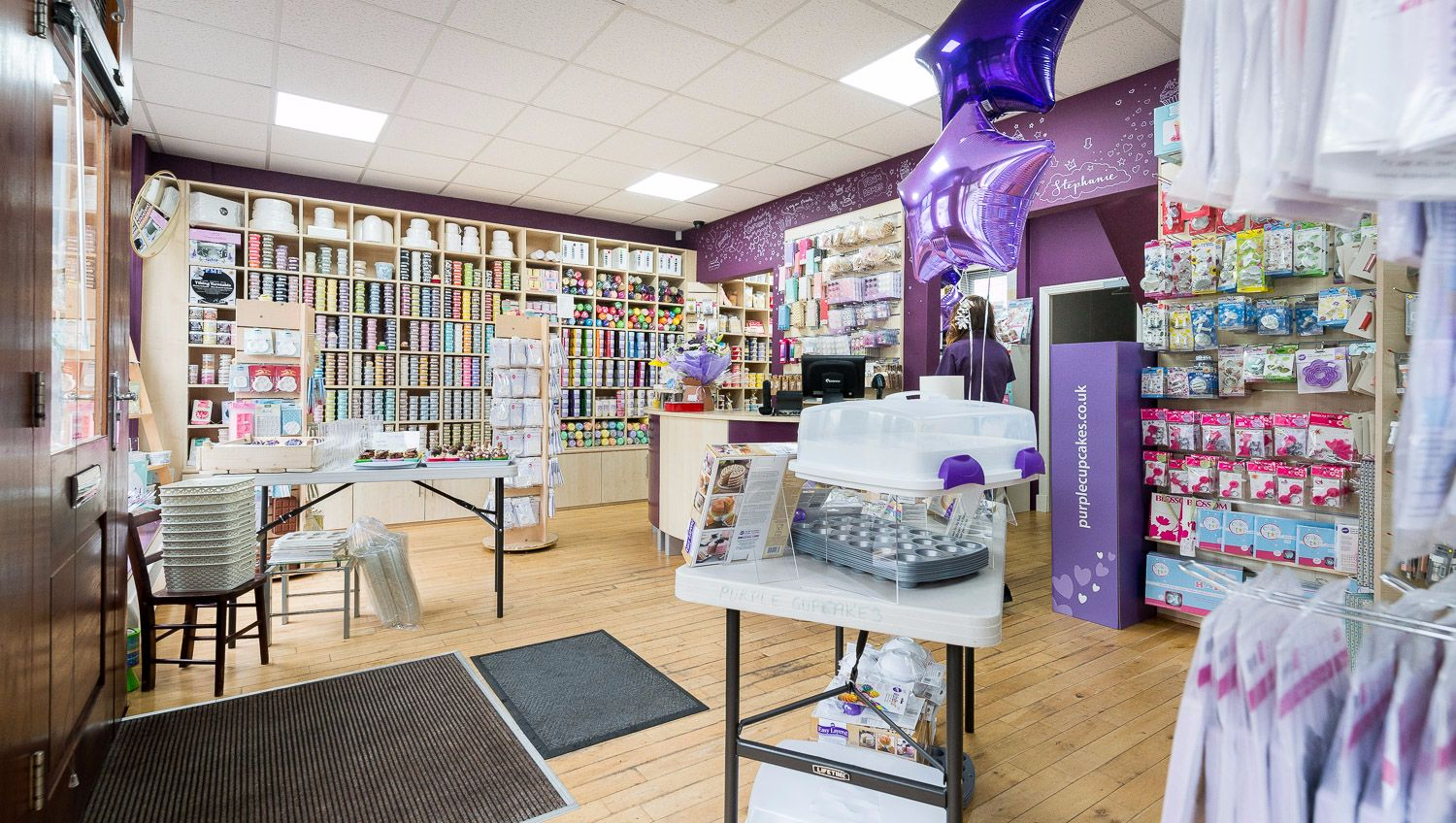 Our gorgeous shop full of cake decorating equipment.