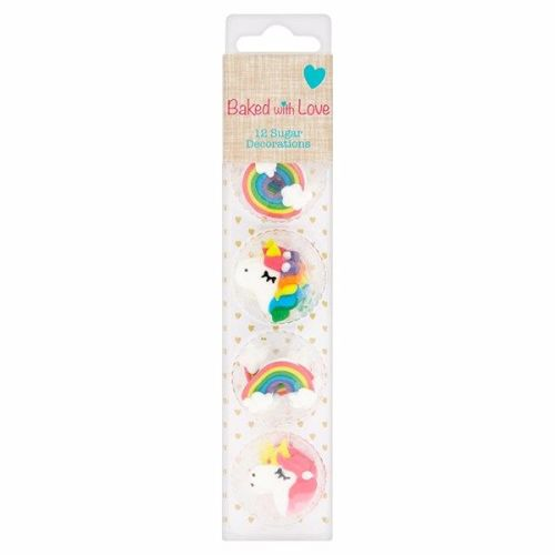 Unicorn & Rainbow Sugar Pipings - Pack of 12