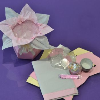 Cupcake Bouquet Box Kit - Baby Girl Baby Shower/Birth