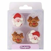 12 Santa & Rudolph Sugar Pipings