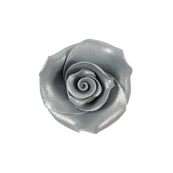 Sugar Flowers - Rose 38mm (5 Flowers) - Silver