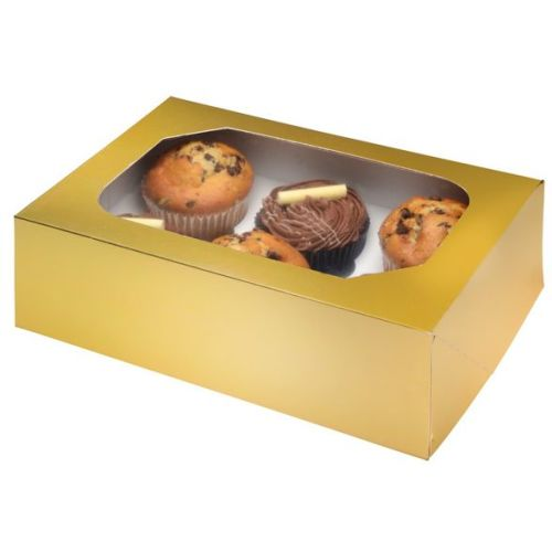 Gold Glossy Cupcake Box Pack of 2
