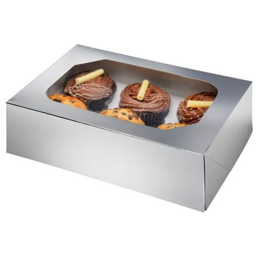 Silver Glossy Cupcake Box Pack of 2
