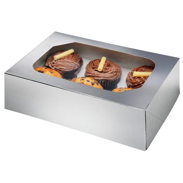 Silver Glossy Cupcake Box Pack of 2