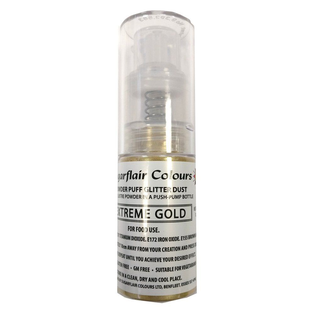 Sugarflair Glitter Dust Spray - Extreme Gold - 10g
