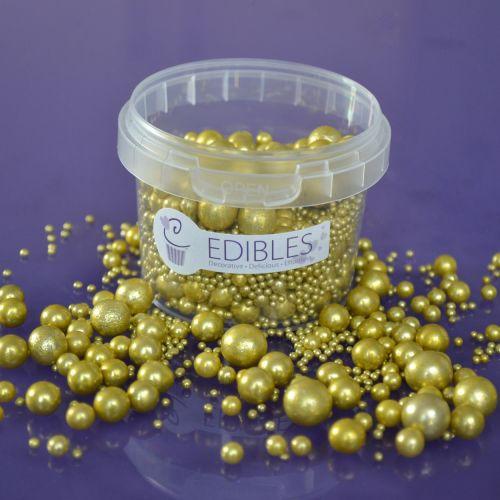 Edible Gold Metallic Balls - 2mm-10mm Mix