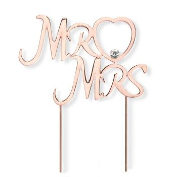 Diamante Rose Gold Mr & Mrs Large