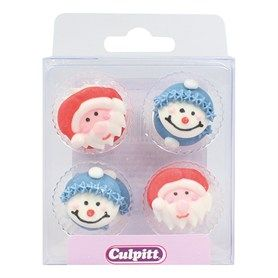 Santa & Snowman Face Sugar Pipings 12 piece