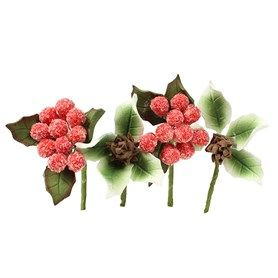 HOC Frosted Berries & Pine Cone Mini Sprays - 4 piece