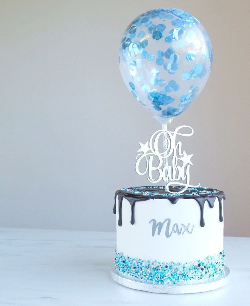 Confetti Cake Balloon Pack of 2 - Blue