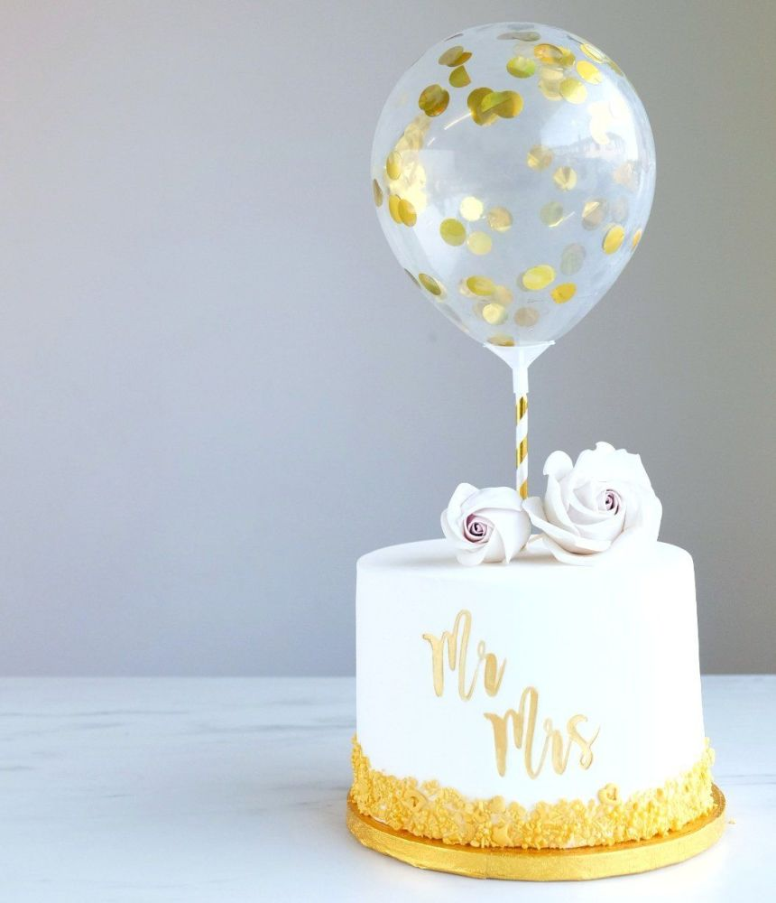 Confetti Cake Balloon Pack of 2 - Gold