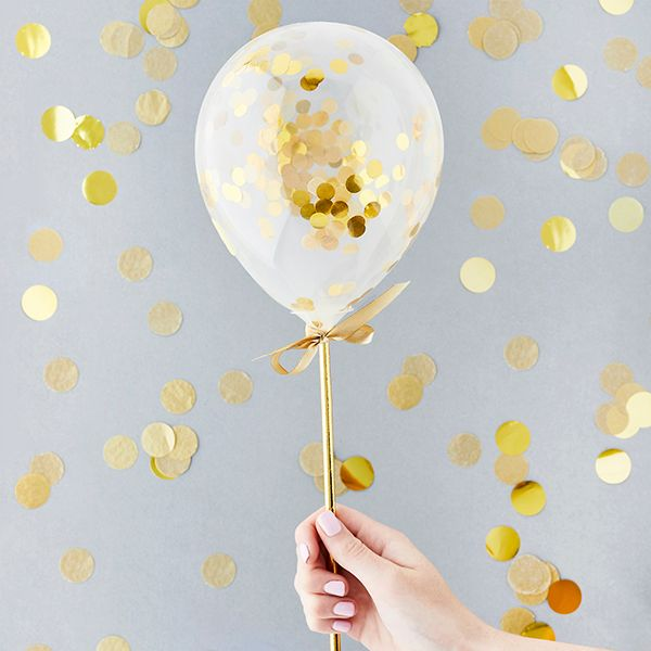Mini Confetti Balloon Wands - Gold Pack of 5
