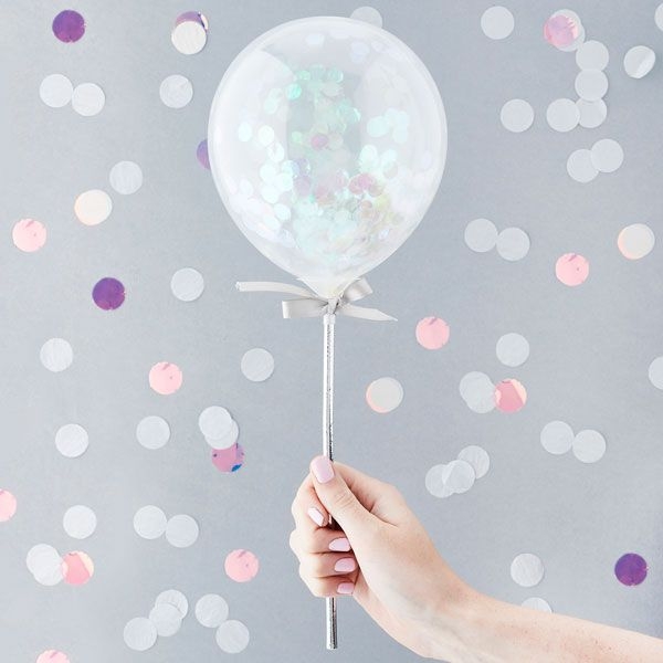 Mini Confetti Balloon Wands - Iridescent Pack of 5