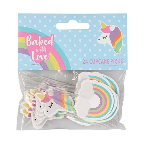 Baked with Love - Unicorn and Rainbow Decorative Pics - Pack 24