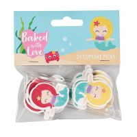 Baked with Love - Mermaid Decorative Pics - Pack 24