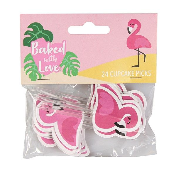 Baked with Love - Flamingo Decorative Pics - Pack 24
