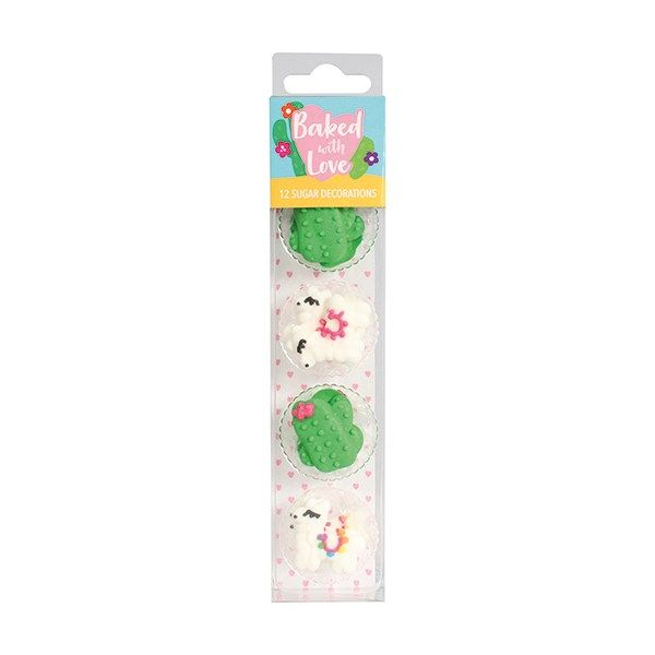 Baked with Love - Llama and Cactus Cupcake Decorations - Pack of 12