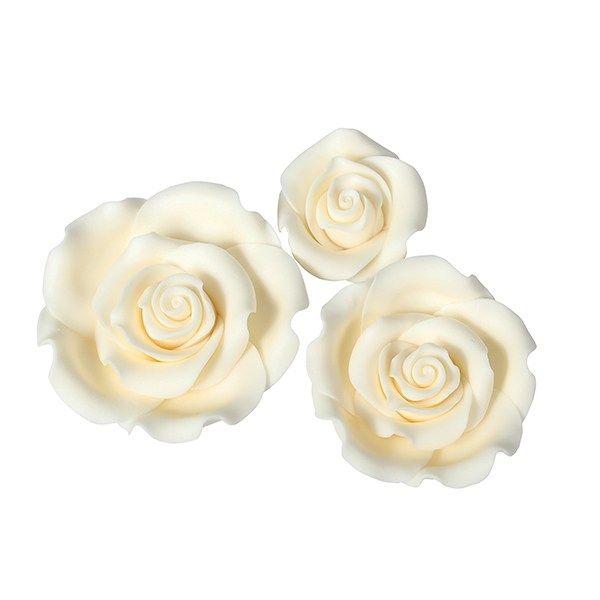 SugarSoft® Roses - Ivory - Box 12 Mixed Sizes