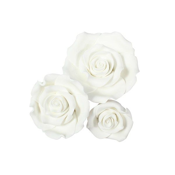 SugarSoft® Roses - White - Box 12 Mixed Sizes