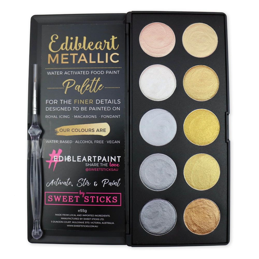 Sweet Sticks Edible Art Paint Palette - Metallic Gold & Silver - 10 Colo