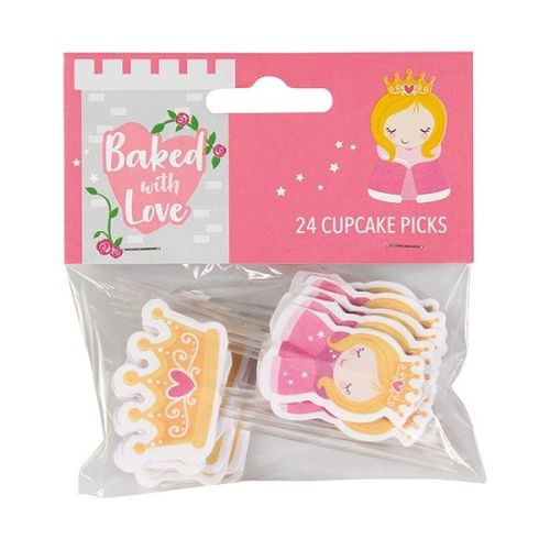 Baked with Love Princess Decorative Pic - Pack 24