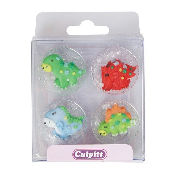 Cute Dinosaurs Sugar Pipings - Pack of 12