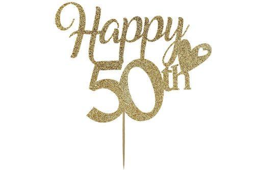 Happy 50th - Light Gold Cake Topper