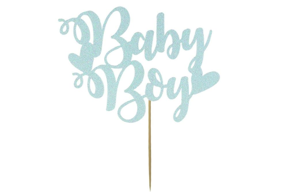 Pale Blue Baby Boy Cake Topper